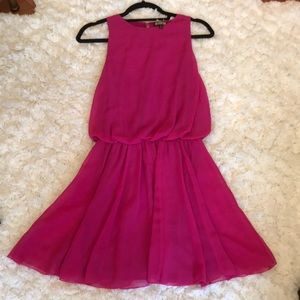 Hot pink dress with elastic waist